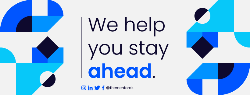 """The Mentor Initiative footer, reading """"We help you stay ahead"""""""